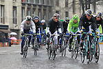 The well wrapped pelethon including World Champion Philippe Gilbert (BEL) BMC Racing Team and Peter Sagan (SVK) Cannondale Pro Cycling pass through Pavia during the 104th edition of the Milan-San Remo cycle race, 17th March 2013 (Photo by Eoin Clarke 2013)