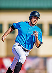 1 March 2019: Miami Marlins outfielder Brian Miller hustles to third during a Spring Training game against the Washington Nationals at Roger Dean Stadium in Jupiter, Florida. The Nationals defeated the Marlins 5-4 in Grapefruit League play. Mandatory Credit: Ed Wolfstein Photo *** RAW (NEF) Image File Available ***