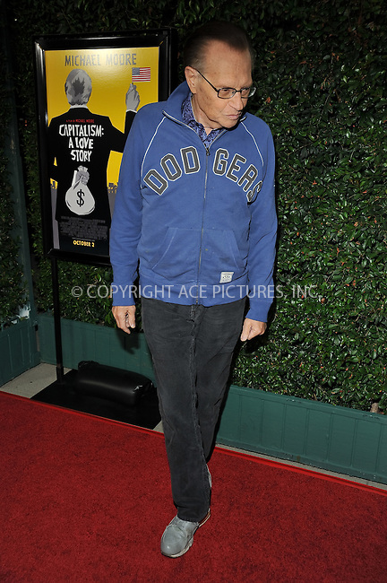 WWW.ACEPIXS.COM . . . . . ....September 15 2009, LA....Larry King arriving at the LA screening of  'Capitalism: A Love Story' on September 15, 2009 in Beverly Hills, California.....Please byline: JOE WEST- ACEPIXS.COM.. . . . . . ..Ace Pictures, Inc:  ..(646) 769 0430..e-mail: info@acepixs.com..web: http://www.acepixs.com
