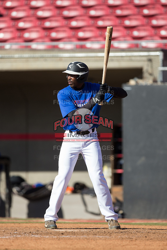 AJ Bumpass (11) of Northern High School in Durham, North Carolina playing for the Texas Rangers scout team at the South Atlantic Border Battle at Doak Field on November 2, 2014.  (Brian Westerholt/Four Seam Images)