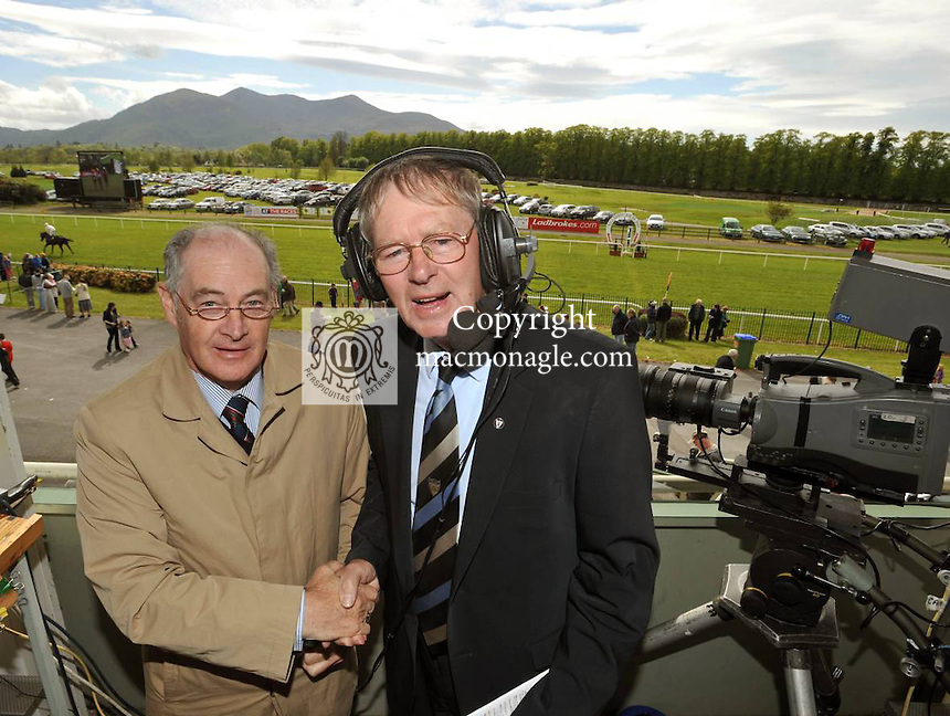 13-5-2012: Micheal O'Muircheartaigh get a helping hand from veteran race commentator Des Scahill as he call the horses 'as gaeilge' at Killarney Races La na Gaeilge on Sunday..Picture by Don MacMonagle