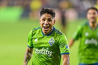 Los Angeles, CA - October 24, 2019.  Seattle Sounders FC defeated LAFC 3 - 1 in the Western Conference Championship match at Banc of California Stadium in Los Angeles.  Raul Riudiaz celebrates his goal.