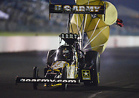 May 18, 2012; Topeka, KS, USA: NHRA top fuel dragster driver Tony Schumacher during qualifying for the Summer Nationals at Heartland Park Topeka. Mandatory Credit: Mark J. Rebilas-
