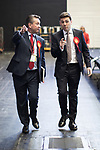 © Joel Goodman - 07973 332324 . 05/05/2017 . Manchester , UK . ANDY BURNHAM arrives at the count with campaign manager KEVIN LEE  . The count for council and Metro Mayor elections in Greater Manchester at the Manchester Central Convention Centre . Photo credit : Joel Goodman