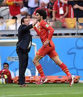 FUSSBALL WM 2014  VORRUNDE    Gruppe H     Belgien - Algerien                       17.06.2014 Trainer Marc Willmots (li) klatscht den 1:1 Torschuetzen Marouane Fellaini (re, beide Belgien) ab