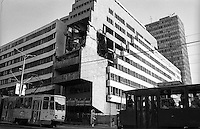 Belgrado, palazzo del Ministero della Difesa danneggiato dai bombardamenti NATO durante la guerra del Kosovo nel 1999 --- Belgrade,   damage of 1999 NATO bombardment on the Yugoslav Ministry of Defence building