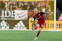 FOXBOROUGH, MA - SEPTEMBER 21: Luke Mulholland #19 of Real Salt Lake passes the ball during a game between Real Salt Lake and New England Revolution at Gillette Stadium on September 21, 2019 in Foxborough, Massachusetts.