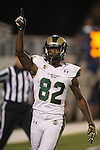 Colorado State's Rashard Higgins (82) celebrates after scoring against Nevada during the first half of an NCAA college football game in Reno, Nev., on Saturday, Oct. 11, 2014. (AP Photo/Cathleen Allison)