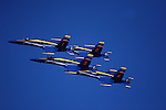 The United States Navy's Navy Flight Demonstration Squadron, popularly known as the Blue Angels, first performed in 1946 and is currently the oldest formal flying aerobatic team. They fly F/A-18 Hornets at air shows and special events to boost recruiting for both the United States Navy and the Marine Corps.<br />