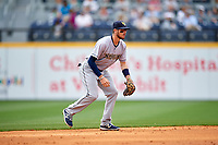 New Orleans Baby Cakes shortstop J.T. Riddle (10) during a game against the Nashville Sounds on May 1, 2017 at First Tennessee Park in Nashville, Tennessee.  Nashville defeated New Orleans 6-4.  (Mike Janes/Four Seam Images)
