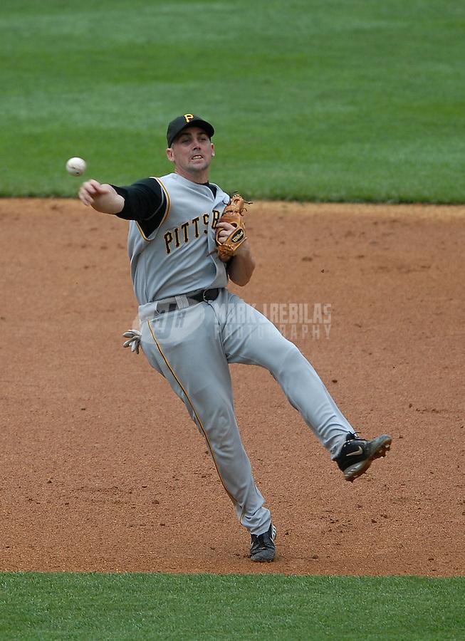 Jun 09, 2007; Bronx, NY, USA; Pittsburg Pirates shortstop (2) Jack Wilson throws to first against the New York Yankees at Yankee Stadium. Mandatory Credit: Mark J. Rebilas