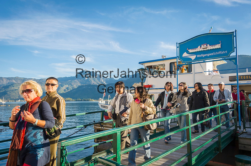 Austria, Upper Austria, Salzkammergut, St. Wolfgang at Lake Wolfgang: ship landing stage | Oesterreich, Oberoesterreich, Salzkammergut, St. Wolfgang am Wolfgangsee: Schiffsanleger