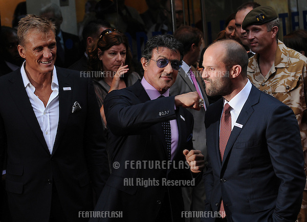 Dolph Lundgren,  Sylvester Stallone and Jason Statham  at the UK Premiere of The Expendables at Odeon Leicester Square, London..August  09, 2010 London, United Kingdom.Picture: Gerry Copper / Featureflash..