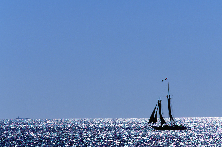 Two masted schooner sailing near Stonington, Maine