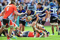 Tom Dunn of Bath Rugby in possession. Aviva Premiership match, between Bath Rugby and Newcastle Falcons on September 10, 2016 at the Recreation Ground in Bath, England. Photo by: Patrick Khachfe / Onside Images