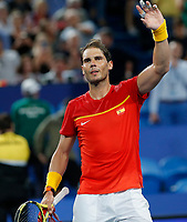 6th January 2020; RAC Arena, Perth, Western Australia; ATP Cup Australia, Perth, Day 4; Spain versus Uruguay; Rafael Nadal of Spain waves to the fans after defeating Pablo Cuevas of Uruguay in straight sets - Editorial Use