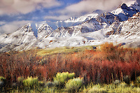Steens Mountain with fresh snow and red willows. Oregon