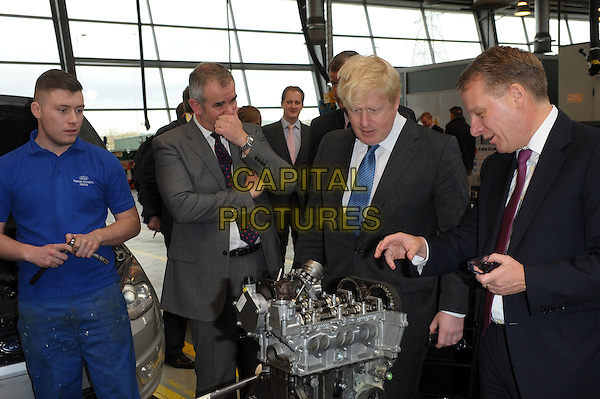 ESSEX, ENGLAND - FEBRUARY 25: London Mayor Boris Johnson visits research, business support and education campus The Centre for Engineering and Manufacturing Excellence (CEME) to meet Chief Executive Bill Williams as well as Ford senior executives and apprentices to hear about plans for future development. Day also features tour of facilities on February 25th, 2014 in Marsh Way, Essex, England.<br /> CAP/CJ<br /> &copy;Chris Joseph/Capital Pictures