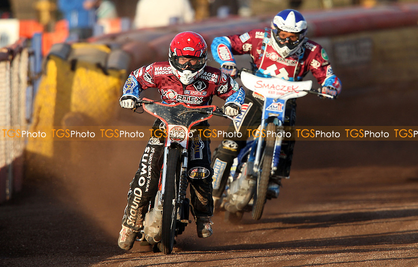 Heat 3: Seb Ulamek (red) and Piotr Swiderski (blue) - Lakeside Hammers vs Coventry Bees, Elite League Speedway at the Arena Essex Raceway, Pufleet - 03/06/13 - MANDATORY CREDIT: Rob Newell/TGSPHOTO - Self billing applies where appropriate - 0845 094 6026 - contact@tgsphoto.co.uk - NO UNPAID USE