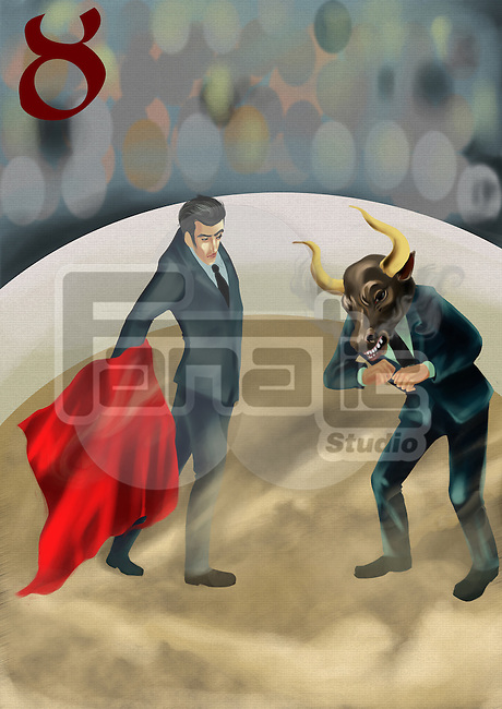 Businessman confronting a business bull