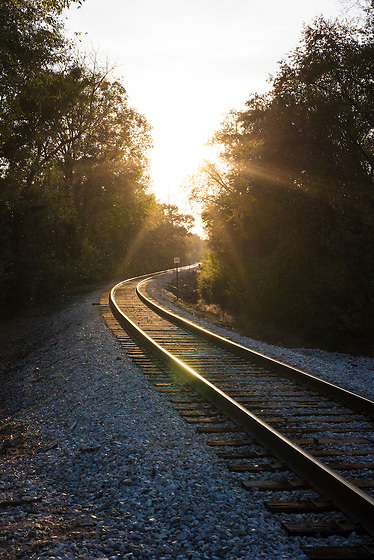 Late afternoon sun streaming on railroad tracks