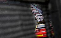 Oct. 11, 2009; Fontana, CA, USA; NASCAR Sprint Cup Series drivers race down the backstretch during the Pepsi 500 at Auto Club Speedway. Mandatory Credit: Mark J. Rebilas-