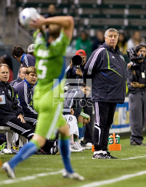 Seattle Sounders head coach Sigi Schmid observing from the sideline. Chivas USA defeated the Seattle Sounders 1-0 at Home Depot Center stadium in Carson, California on Saturday evening June 6, 2009.   .