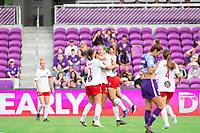 Orlando, FL - Saturday October 05, 2019: Washington Spirit celebrate a goal by Ashley Hatch , Orlando Pride vs Washington Spirit Stars at Exploria Stadium.