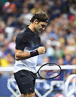 FLUSHING NY- SEPTEMBER 04: ***NO NY DAILIES***  Roger Federer Vs Philipp Kohlschreiber: Roger Federer pumps his fist during his match against Philipp Kohlschreiber on Arthur Ashe Stadium during the US Open at the USTA Billie Jean King National Tennis Center on September 4, 2017 in Flushing Queens. Credit: mpi04/MediaPunch