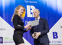 Picture by Allan McKenzie/SWpix.com - 07/03/2017 - Commercial - Leeds Sports Awards 2017 - First Direct Arena, Leeds, England - Leeds Sports Awards, The Brief, Peter Mackreth presents Georgia Coates with her Highly Commended award.