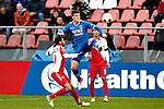 Nederland, Utrecht, 2 december  2012.Eredivisie.Seizoen 2012-2013.FC Utrecht-AZ.Johann Berg Gudmundsson van AZ  in duel om de bal met Anouar Kali van FC Utrecht