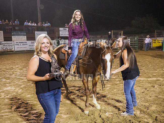 Rex Nicholson youth horse show award and the high-point buckles presented by Tanya Barger King and Mark Dufrene a the rodeo.<br /> <br /> Saturday, Day 3 of the 79th Amador County Fair, Plymouth, Calif.<br /> <br /> Local cowboy ranch rodeo, livestock beauty pageant, youth tractor rodeo, Mutton Bustin' finals<br /> <br /> <br /> #AmadorCountyFair, #PlymouthCalifornia,<br /> #TourAmador, #VisitAmador