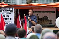 Ca. 1000 Menschen protestierten am Samstag den 11. Juli 2015 in Berlin mit einer Demonstration anlaesslich des anti-israelischen Al Quds-Tag. Sie riefen Parolen wie &quot;Kindermoerder Israel&quot; und &quot;Israel raus aus Palaestina&quot;.<br /> Am sogenannten Al Quds-Tag protestieren weltweit Muslime gegen die Besetzung der palaestinensischen Gebiete durch Israel.<br /> Etwa 2050 bis 300 Menschen protestierten gegen die Demonstration.<br /> Im Bild: Der Journalist und PR-Berater Christoph R. Hoerstel. Er war von 1985 bis 1999 als Journalist unter anderem fuer die ARD aus Afghanistan, Pakistan und Kaschmir unterwegs und tritt heute vor allem als freier Journalist und politischer Aktivist im Umfeld von verschwoerungstheoretischen Gruppen wie dem &quot;9/11 Truth Movement&quot; in Erscheinung. <br /> Hoesrtel ist Gruender der Partei &quot;Neue Mitte&quot;, deren Vorsitzender er bis zum 26. August 2013 war.<br /> 11.7.2015, Berlin<br /> Copyright: Christian-Ditsch.de<br /> [Inhaltsveraendernde Manipulation des Fotos nur nach ausdruecklicher Genehmigung des Fotografen. Vereinbarungen ueber Abtretung von Persoenlichkeitsrechten/Model Release der abgebildeten Person/Personen liegen nicht vor. NO MODEL RELEASE! Nur fuer Redaktionelle Zwecke. Don't publish without copyright Christian-Ditsch.de, Veroeffentlichung nur mit Fotografennennung, sowie gegen Honorar, MwSt. und Beleg. Konto: I N G - D i B a, IBAN DE58500105175400192269, BIC INGDDEFFXXX, Kontakt: post@christian-ditsch.de<br /> Bei der Bearbeitung der Dateiinformationen darf die Urheberkennzeichnung in den EXIF- und  IPTC-Daten nicht entfernt werden, diese sind in digitalen Medien nach &sect;95c UrhG rechtlich geschuetzt. Der Urhebervermerk wird gemaess &sect;13 UrhG verlangt.]