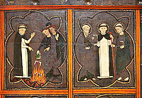 Close up of a Gothic painted Panel of the life of Saint Dominic, anonymous artist from Aragon. Tempera and varnished metal plate on wood. First quarter of 14th century. 134 x 193 x 8.3 cm. From the church of Sant Miquel de Tamarit de Llitera (Huesca). National Museum of Catalan Art, inv no: 015825-000