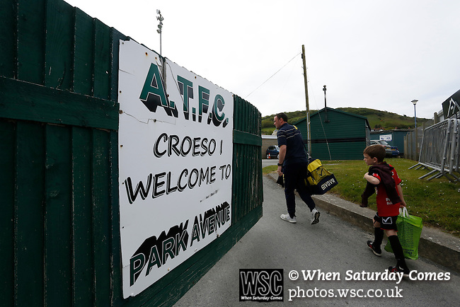 Aberystwyth Town 1 Newtown 2, 17/05/2015. Park Avenue, Europa League Play Off final. The Newtown Manager Chris Hughes arrives at  Park Avenue. Aberystwyth finished 14 points above Newtown in the Welsh Premier League, but were beaten 1-2 in the Play Off Final. Photo by Paul Thompson.