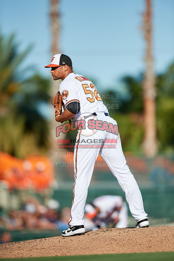 Baltimore Orioles relief pitcher Branden Kline (52) looks in for the sign during a Grapefruit League Spring Training game against the Detroit Tigers on March 3, 2019 at Ed Smith Stadium in Sarasota, Florida.  Baltimore defeated Detroit 7-5.  (Mike Janes/Four Seam Images)