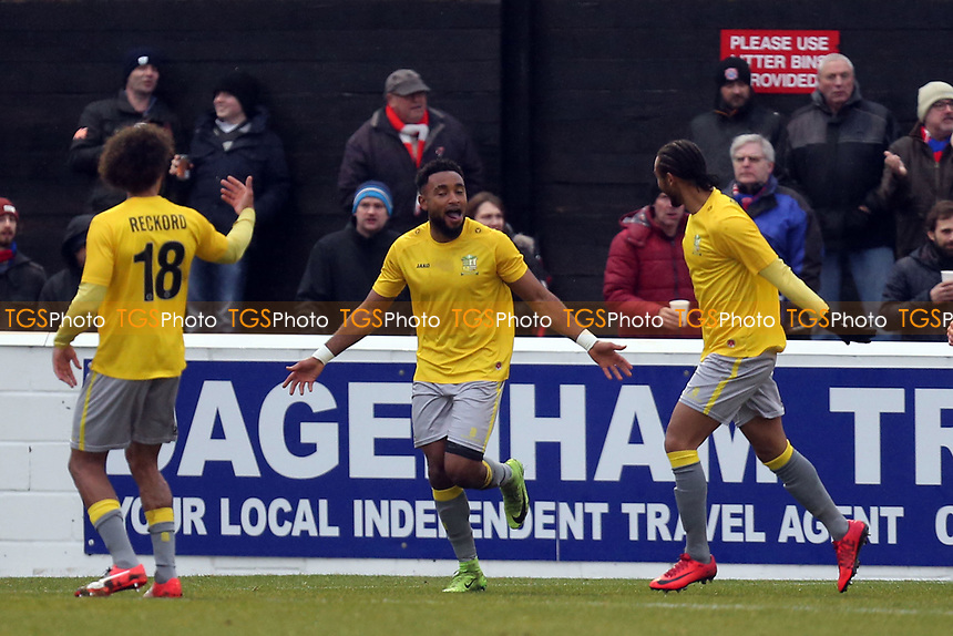 Adi Yussuf of Solihull Moors celebrates scoring the second goal during Dagenham & Redbridge vs Solihull Moors, Vanarama National League Football at the Chigwell Construction Stadium on 27th January 2018