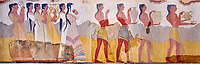 The Minoan 'Procession Fresco', wall art from the South Prpylaeum, Knossos Palace, 1500-1400 BC . Heraklion Archaeological Museum.<br /> <br /> This latrge Minoan fresco of many figure in procession would have decorated the corridor between the West Porch and the South Propylaeum of Knossos Palace. Both sides of the corridor were painted with hundreds of male and femal;e figures carrying precious utensils and vessels, probably depicting gift bearers to the ruler of the Palace. The composition is much like those found in the Palaces and tombs of Egypt and the near east at the time. Neopalatial final period.
