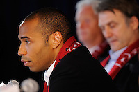 Thierry Henry during a New York Red Bulls press conference at Red Bull Arena in Harrison, NJ, on July 15, 2010.
