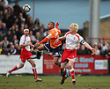 Matthew Barnes-Homer of Luton and Mark Roberts of Stevenage Borough challenge for a header during the  Blue Square Premier match between Stevenage Borough and Luton Town at the Lamex Stadium, Broadhall Way, Stevenage on Saturday 3rd April, 2010..© Kevin Coleman 2010 .