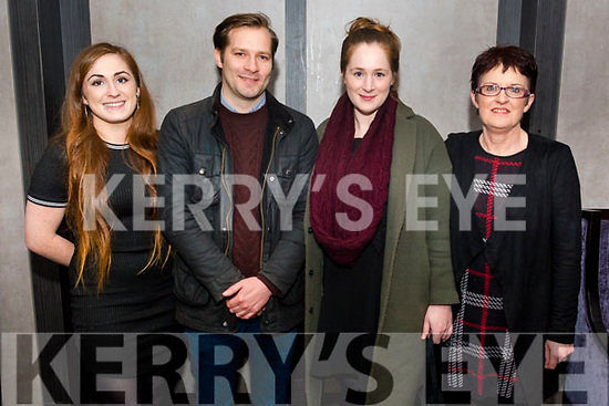 Kerry Film Festival Awards night in the Gleneagle Hotel, Killarney last Saturday night. Pictured from l-r Caoimhe Croning O'Reilly from Cromane, James Griffith from UK, Fodhla Cronin O'Reilly from Cromane and Irene Cronin O'Reilly from Cromane.