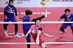 Azusa Kikuchi (JPN), <br /> AUGUST 20, 2018 - Sepak takraw : <br /> Women's Team Regu Preliminary match <br /> between Malaysia - Japan<br /> at Jakabaring Sport Center Ranau Hall <br /> during the 2018 Jakarta Palembang Asian Games <br /> in Palembang, Indonesia. <br /> (Photo by Yohei Osada/AFLO SPORT)
