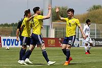 Oliver Burke celebrates scoring Scotland's second goal with Glenn Middleton during South Korea Under-21 vs Scotland Under-21, Tournoi Maurice Revello Football at Stade Parsemain on 2nd June 2018