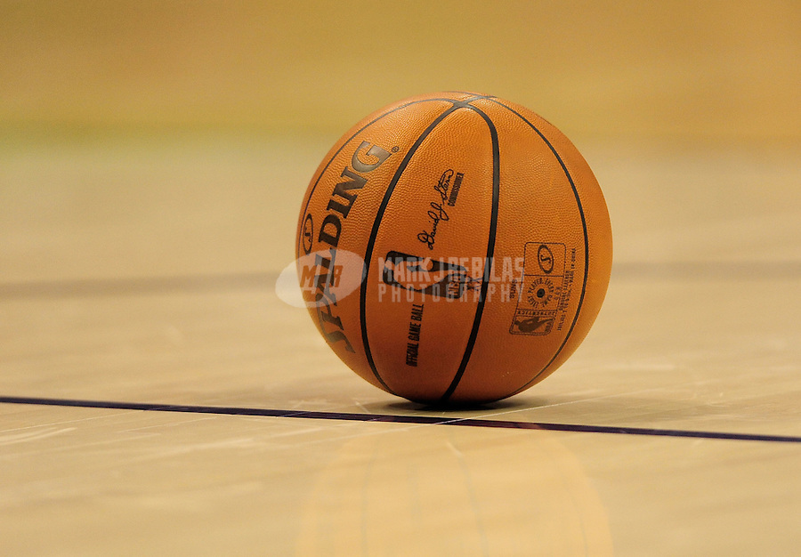 Nov. 11, 2009; Phoenix, AZ, USA; Detailed view of a Spalding basketball on the court during the game between the Phoenix Suns against the New Orleans Hornets at the US Airways Center. Phoenix defeated New Orleans 124-104. Mandatory Credit: Mark J. Rebilas-