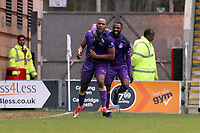 Maidenhead's Adrian CLifton scores past DEan Brill and celebrates during Leyton Orient vs Maidenhead United, Vanarama National League Football at The Breyer Group Stadium on 16th February 2019