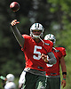 Christian Hackenberg #5, New York Jets rookie quarterback, tosses a pass during training camp at Atlantic Health Jets Training Center in Florham Park, NJ on Wednesday, Aug. 17, 2016.