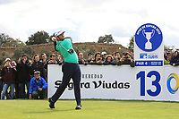 Jon Rahm (ESP) on the 13th tee during Round 2 of the Open de Espana 2018 at Centro Nacional de Golf on Friday 13th April 2018.<br /> Picture:  Thos Caffrey / www.golffile.ie<br /> <br /> All photo usage must carry mandatory copyright credit (&copy; Golffile | Thos Caffrey)