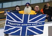 Preston supporters during the pre-match warm-up <br /> <br /> Photographer Jon Hobley/CameraSport<br /> <br /> The EFL Sky Bet Championship - Millwall v Preston North End - Saturday 13th January 2018 - The Den - London<br /> <br /> World Copyright &copy; 2018 CameraSport. All rights reserved. 43 Linden Ave. Countesthorpe. Leicester. England. LE8 5PG - Tel: +44 (0) 116 277 4147 - admin@camerasport.com - www.camerasport.com