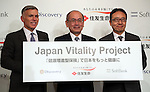 """July 21, 2016, Tokyo, Japan - Japan's insurer Sumitomo Life Insurance president Masahiro Hashimoto (C) smiles with South African insurer Discovery Ltd. Chief executive Adrian Gore (L) and Japanese communication giant Softbank president Ken Miyauchi (R) as they announced Sumitomo will develop the new insurance product """"Japan Vitality Project"""" with other two companies at a press conference in Tokyo on Thursday, July 21, 2016. The new life insurance has lower premiums to more healthy conscious people using health care devices or smartphones with health care applications.     (Photo by Yoshio Tsunoda/AFLO) LWX -ytd-"""