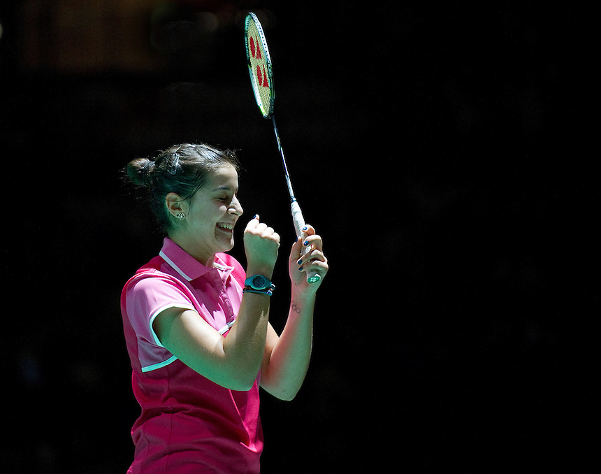 Carolina MARIN (ESP) (3) celebrates her Ladies' Singles Finals victory over Kirsty GILMOUR (SCO) (5)<br /> <br /> Carolina MARIN (ESP) def Kirsty GILMOUR (SCO) 21-19 21-9<br /> <br /> Photo by Ashley Western/CameraSport<br /> <br /> Badminton - Badminton World Federation Grand Prix Gold 2013 - Day 6 - Sunday 6th October 2013 - Copper Box Arena, Queen Elizabeth II Olympic Park, London<br /> <br /> &copy; CameraSport - 43 Linden Ave. Countesthorpe. Leicester. England. LE8 5PG - Tel: +44 (0) 116 277 4147 - admin@camerasport.com - www.camerasport.com